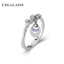 YIKALAISI 2017 Fashion 100 natural Freshwater Pearl jewelry rings 8 9 mm fashion 925 sterling silver