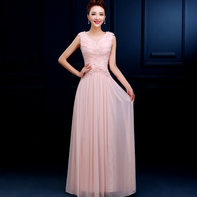 Cheap Elegant 2016 New V Neck Bridesmaid Dresses Flower Maxi Long Dress Homecoming Gown Prom
