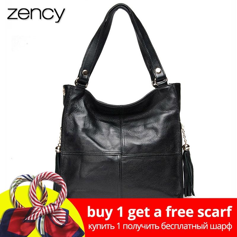 Zency Tassel תיק יד נשים 100% עור אמיתי תיק כתף נקבה אופנה Crossbody Messenger ארנק White Hobos Satchel
