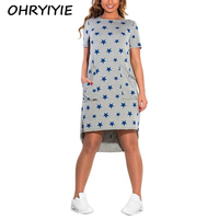 OHRYIYIE Five Pointed Star Printed Dress Women 2018 Summer Fashion O Neck Loose Female Party Dresses