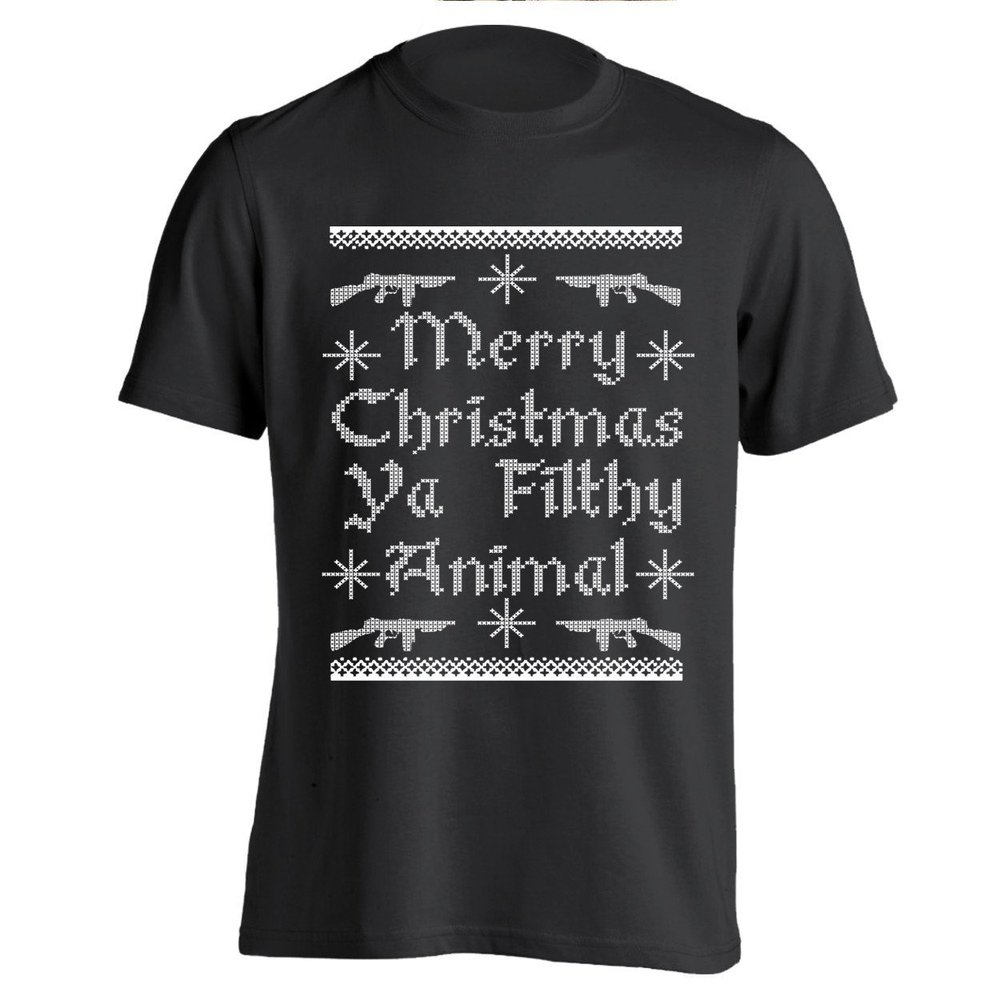 guns merry christmas ya filthy animal mens unisex custom t shirt in t shirts from mens clothing accessories on aliexpresscom alibaba group