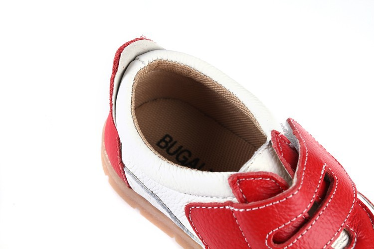 SandQ baby Boys sneakers soccers shoes girls sneakers Children leather shoes pink red black navy genuine leather flexible sole 22