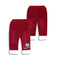 Winter Girls Pants Warm Thicken Plus Velvet Children Trousers Embroidered Fleece Inner Lovely Christmas Pants ZQ