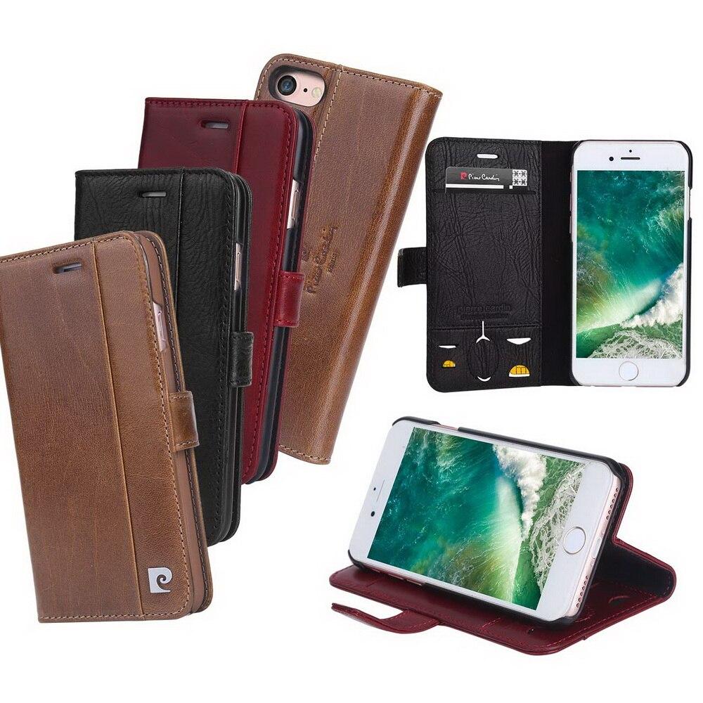 Pierre Cardin Marque Pour Apple iPhone 8 7 Plus coque de téléphone En Cuir Véritable De Style Livre Magnétique Étui Portefeuille porte-carte Couverture - 2