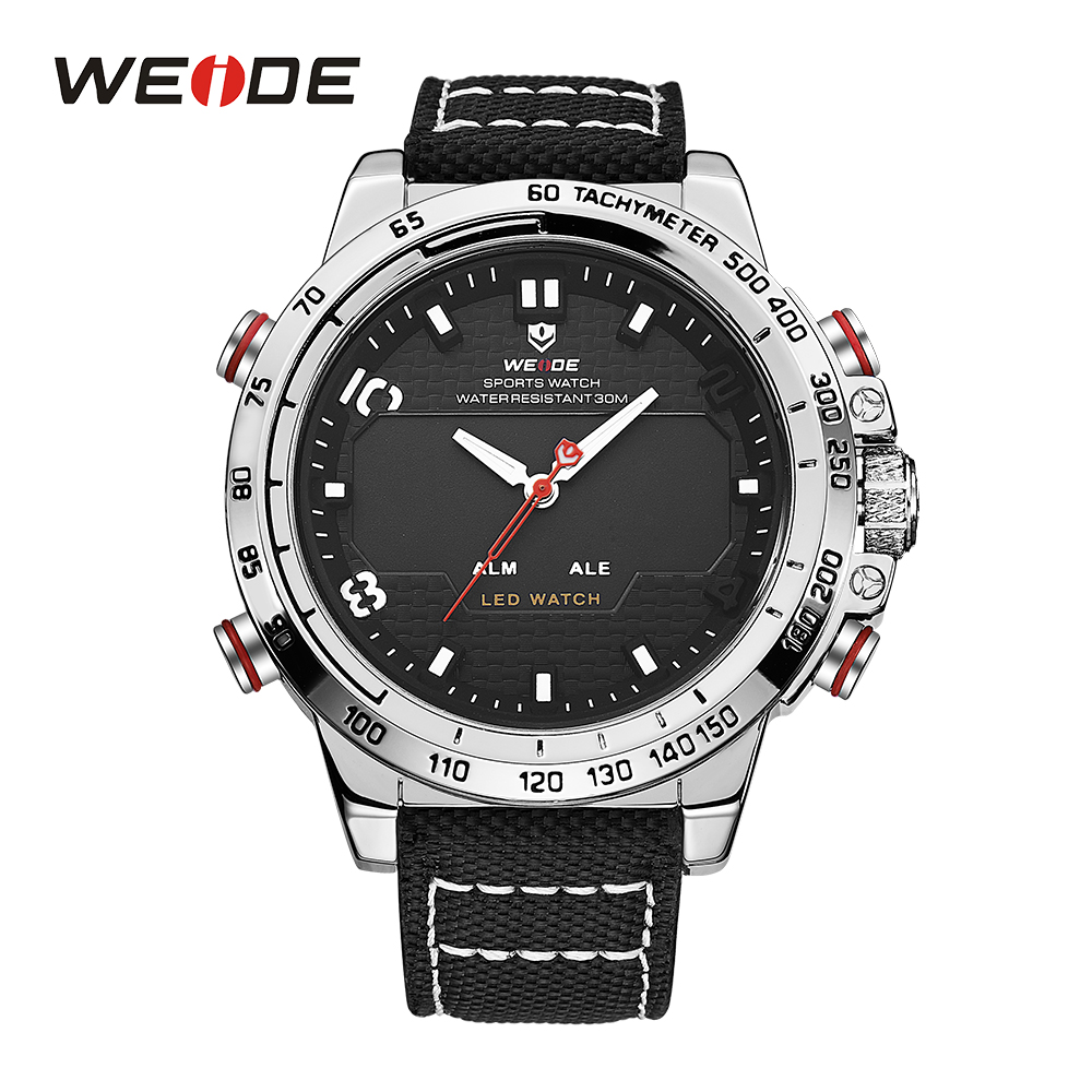 WEIDE Men Sport Watches Big Dial Alam Date Day Back Light Quartz LED Display Military Watch Strap Analog Hardlex Wristwatches weide watches men luxury sports lcd digital alarm military watch nylon strap big dial 3atm analog led display men s quartz watch