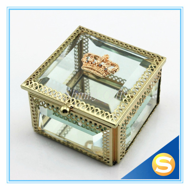 Wedding Gifts Crown Glass Jewelry Box With Mirror Trinket Boxin