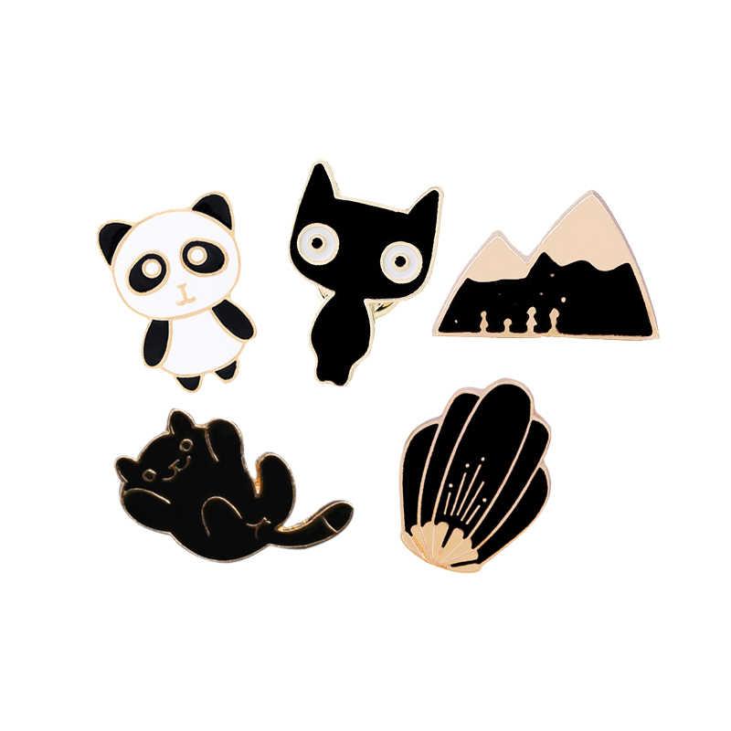 Cartoon broszki Panda kot Hill emalia szpilki Denim kurtki klapie przycisk kołnierz odznaka mężczyźni kobiety akcesoria dla dzieci specjalne prezenty
