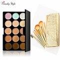 15 Cores Contour Creme Para o Rosto de Maquiagem Cosméticos Concealer Palette Make Up Conjuntos Kits + 7 pcs Pincéis de Maquiagem Em Pó Fundação saco