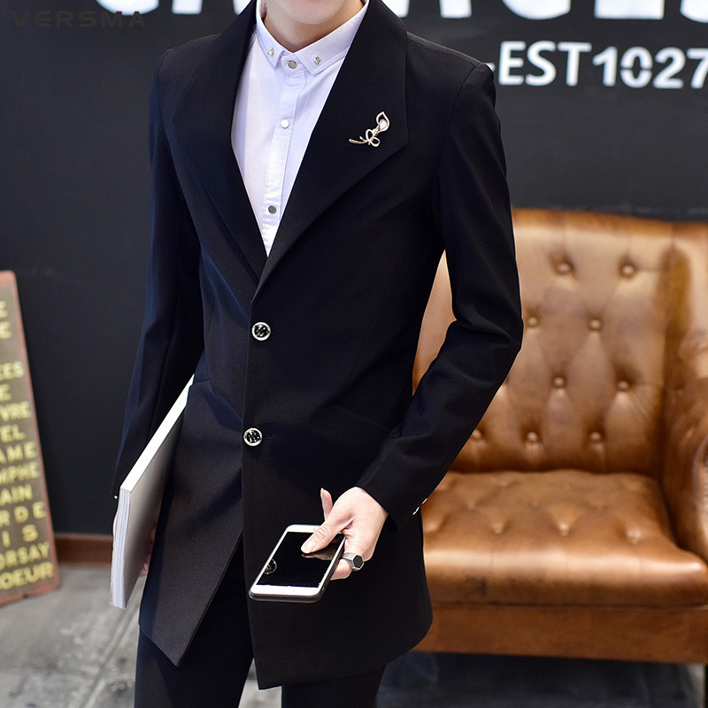 VERSMA 2018 Korean Slim Fit Casual Men Blazer Suit Jacket Coat For Men Summer Red Long Leisure Blazer Stage Costumes For Singers