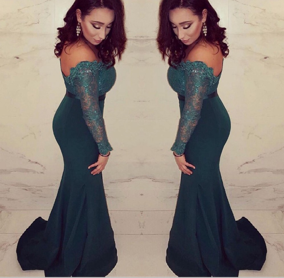 Mother Of The Bride Dresses Plus Size Blue Long Sleeve Mermaid Prom Evening Dresses Gown Long 2019