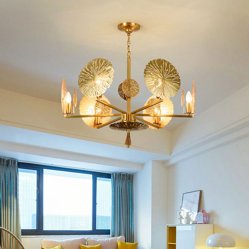 American Modern Chandelier Whole Copper Dining Room Lights LED Chandeliers Nordic Copper Lamps Lighting  Suspension Luminaire modern crystal chandelier led hanging lighting european style glass chandeliers light for living dining room restaurant decor
