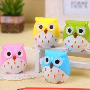Image 3 - 24pcs/lot Cute Owl design Double orifice Mini pencil sharpener 4 colors pencil sharpener Wholesale
