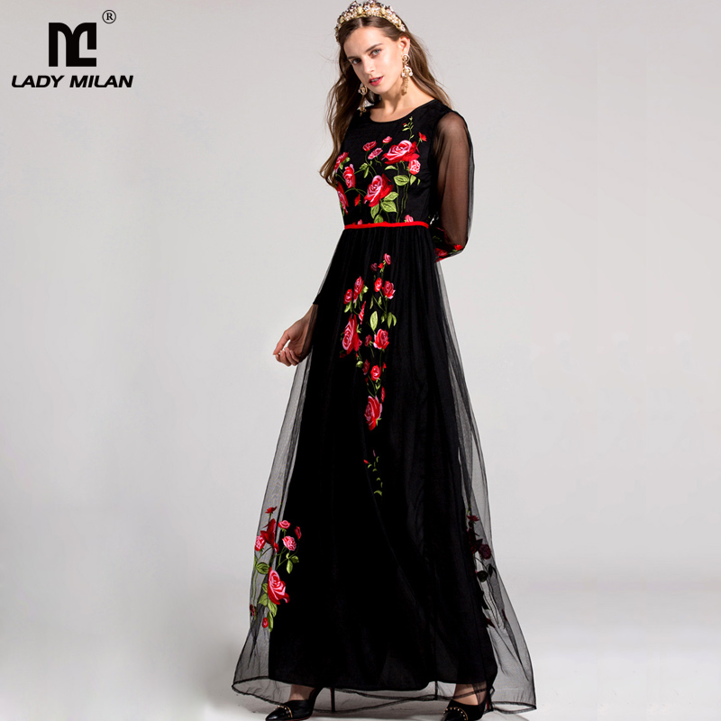 New Arrival 2018 Spring Womens O Neck Long Sleeves Embroidery Floral Elegant Prom Maxi Runway Dresses in 2 Colors