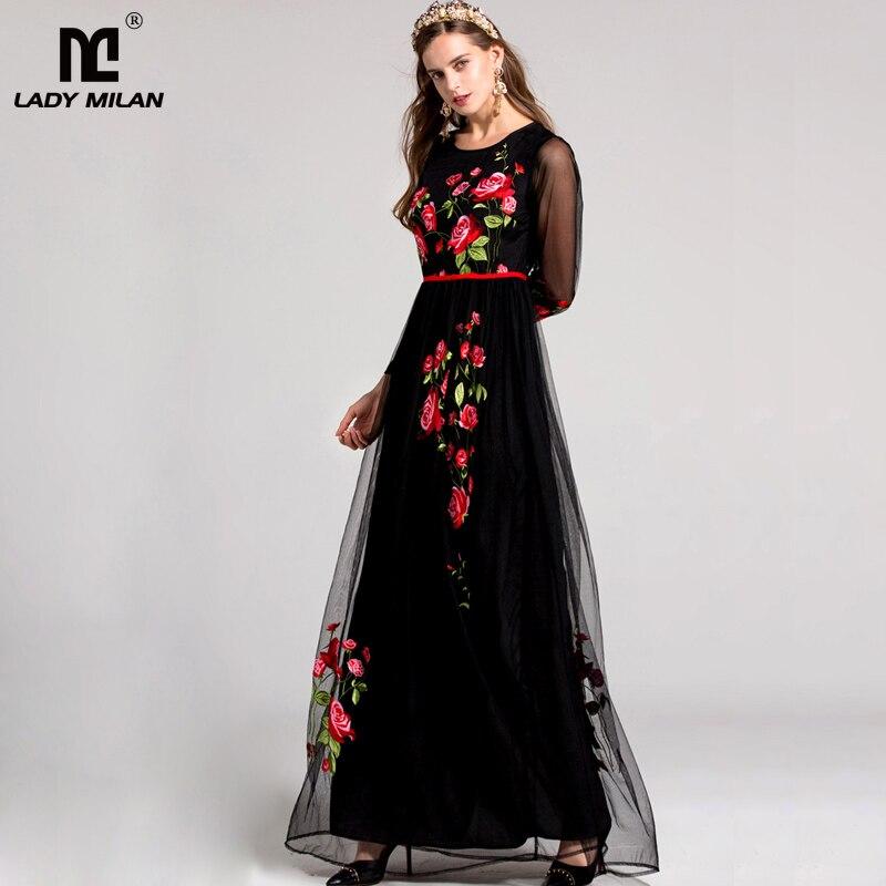 Nowy przyjazd 2019 wiosna damska O Neck długie rękawy kwiatowy haft elegancka suknia balowa sukienki Maxi Runway w 2 kolorach w Suknie od Odzież damska na  Grupa 1
