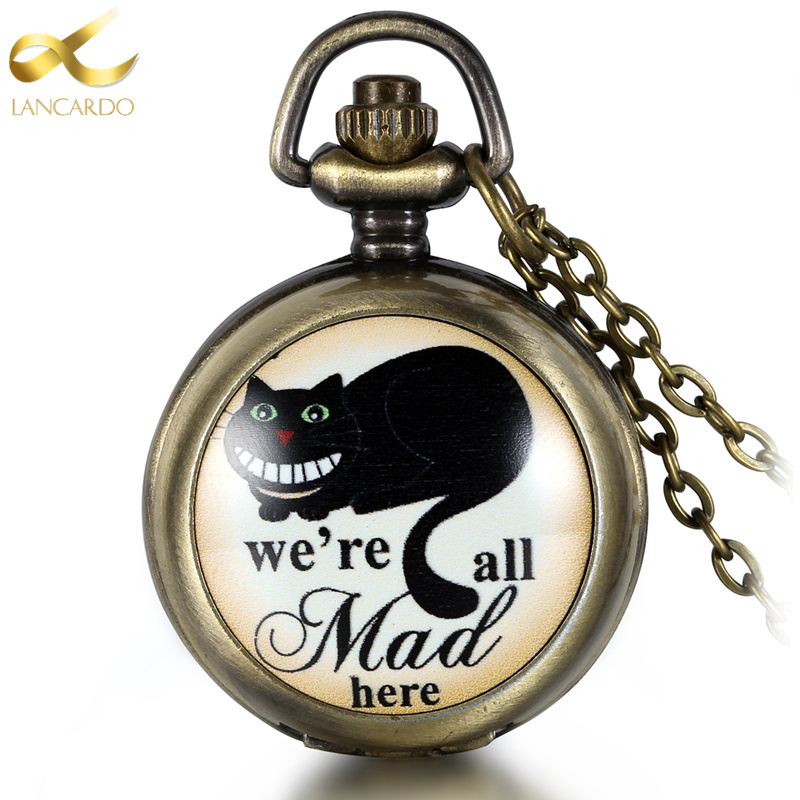 Lancardo Vintage Bronze Copper Quartz Mad Cat Pocket Watch Men Women Cute Pendant Necklace Chain Gift