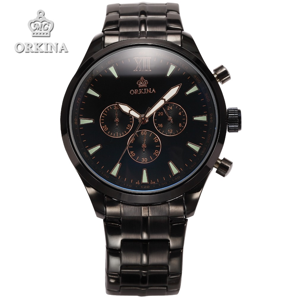 Orkina Chronograph Quartz Watch Brand 2016 Stainless Steel Clock Men Luxus Wrist Watches for Men with Gift Box Montres 4 Colors orkina relojes 2016 new clock mens watches top brand luxury herren cool watche for men with gift box montres