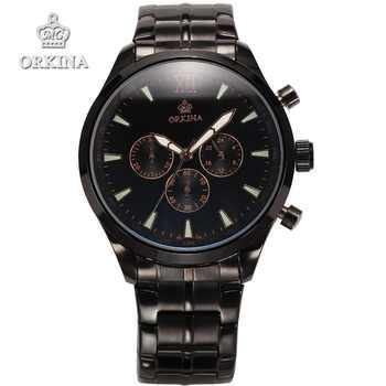 Orkina Chronograph Quarzuhr Marke 2016 Edelstahl Uhr Männer Luxus Handgelenk Uhren für Männer mit Geschenk Box Montres 4 farben