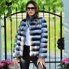 Real Fur With Nature Chinchilla Rex Rabbit Furs Women Fur Coat With Stand Collar Fashion Horizontal Stripes Rabbit Jackets 2018