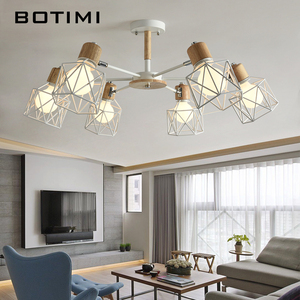 Image 1 - BOTIMI Lustre Wooden Chandelier For Living Room Iron Lampshade LED Chandelier Lighting Lustres Para Sala De Jantar Home Lamp