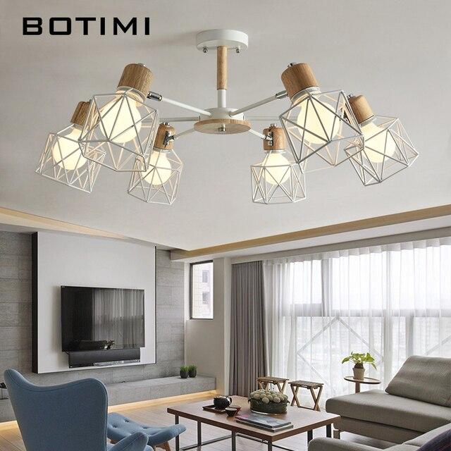 BOTIMI Lustre Wooden Chandelier For Living Room Iron Lampshade LED Chandelier Lighting Lustres Para Sala De Jantar Home Lamp