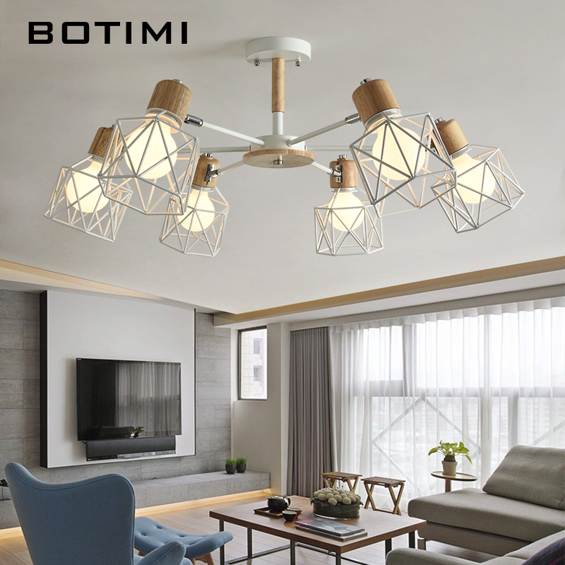 BOTIMI Lustre Wooden Chandelier For Living Room Iron Lampshade LED Chandelier Lighting Lustres Para Sala De Jantar Home Lamp