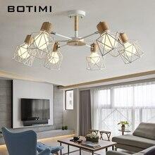 Деревянная люстра BOTIMI Lustre, Железный Абажур для гостиной светодиодный светильник, люстра для дома
