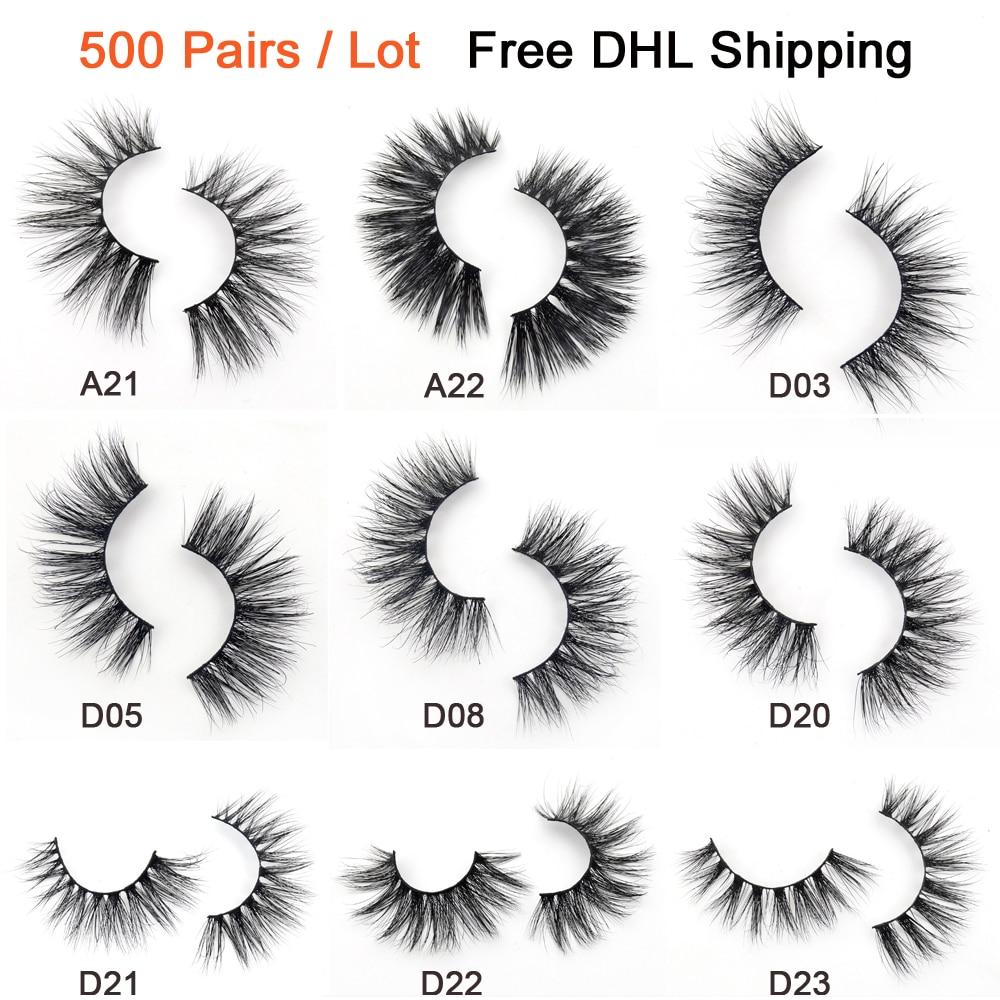 500 Pairs/lot Free DHL Visofree Mink Eyelashes 3D Mink Lashes Handmade Volume Lashes Soft Fluffy Mink Lashes False Eyelashes