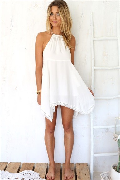 Backless atractivo correas asimtrico de encaje blanco vestido para