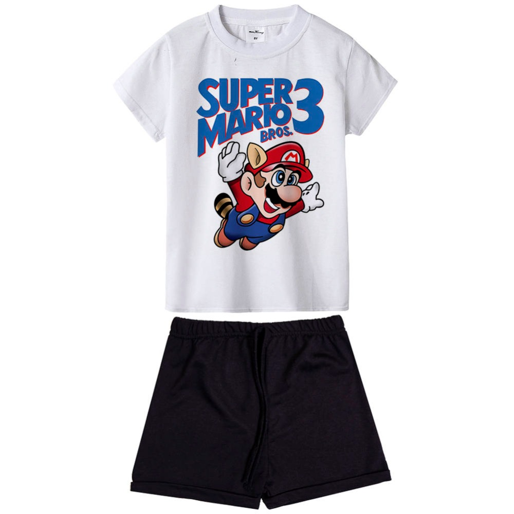 cool pattern super mario bros boys clothes short sleeve T-shirt+shorts 2-piece set O-neck boys clothing set summer children suit
