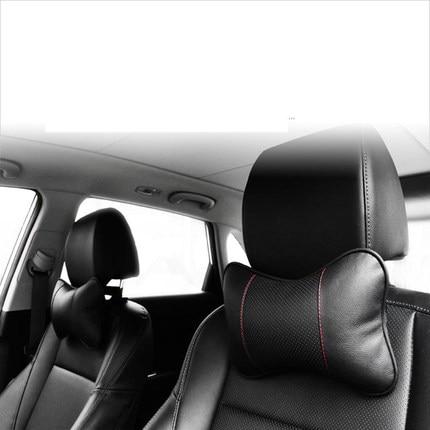 2 STKS Auto-styling Katoen Lederen Auto nek hoofdsteun kussen voor - Auto-interieur accessoires