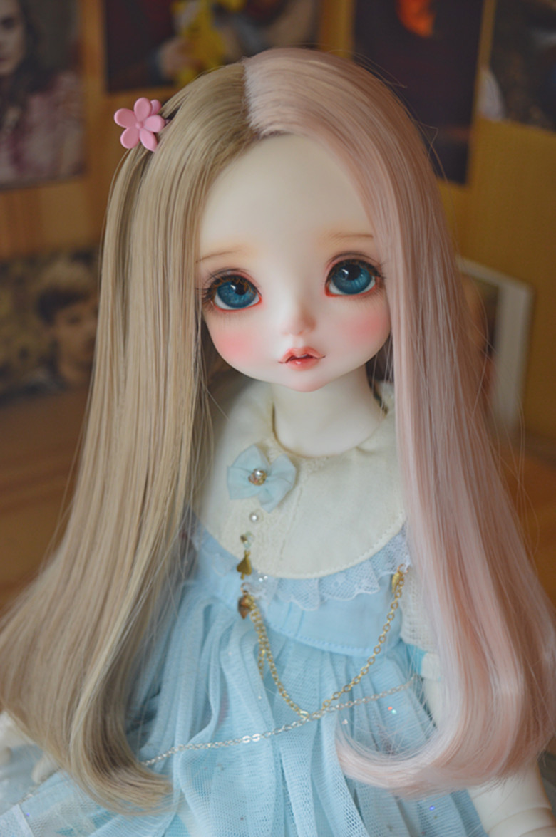 NEW 1/3 BJD wig long hair for doll DIY High-Temperature Wire fiber hair for BJD SD dollfie doll accessories 22 24cm 1 3 bjd doll sd fur wig dollfie creamy white long curl hair 013