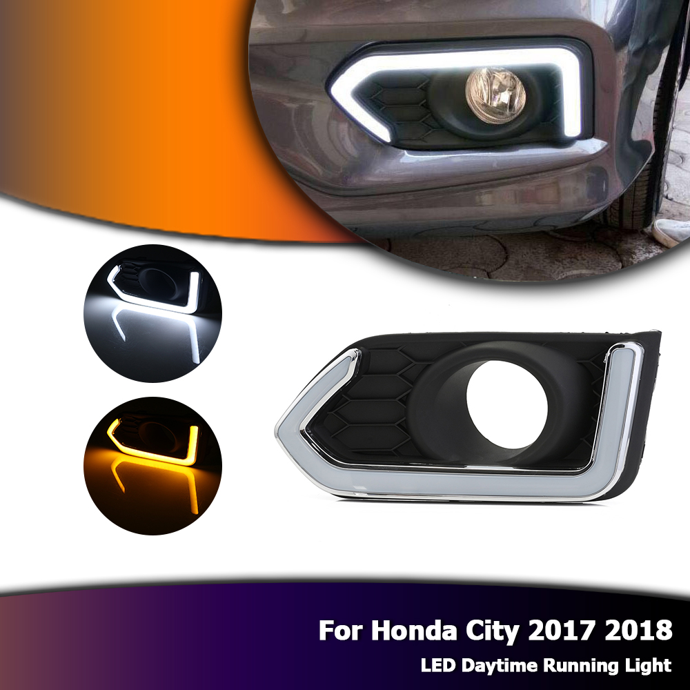 White Day Lights For Honda City 2017 2018 Auto Car LED Daytime Running DRL With Yellow Turn Signal Light D35 high quality 3 colors white yellow ice blue led car drl daytime running lights fog light with yellow turn signal for honda jade