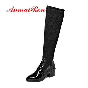 AnmaiRon Pointed Toe  Genuine Leather  Over The Knee Boots  Boots Women  Women Shoes  Zapatos De Mujer Size 34-40 CR1721