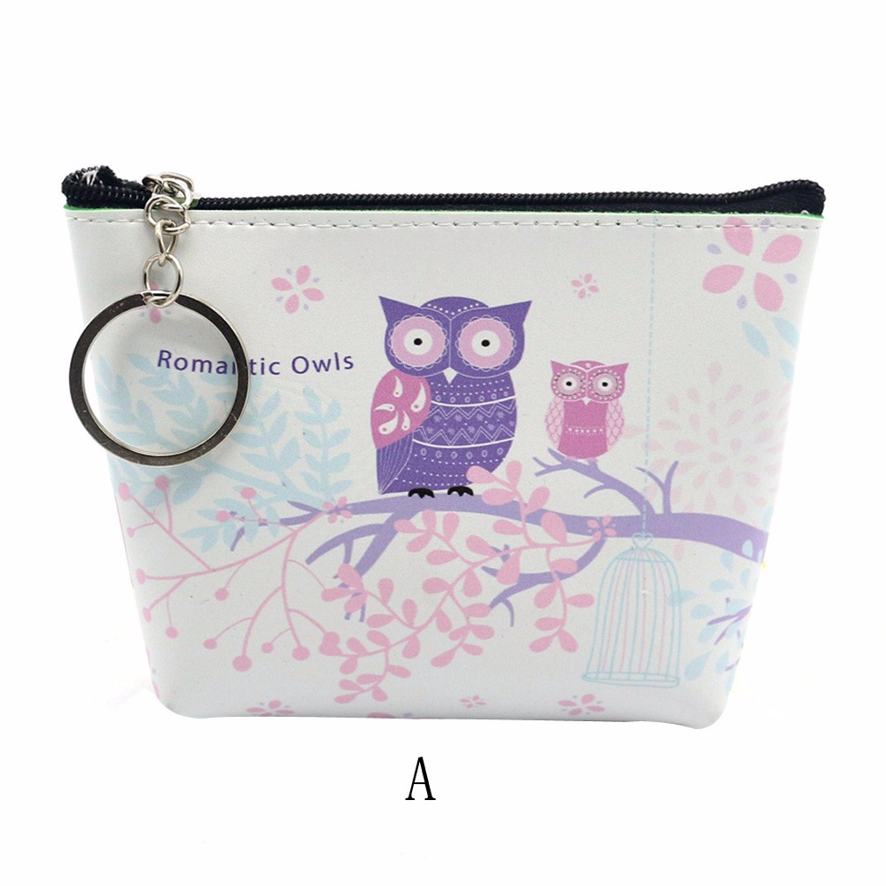 Women Coin Purse Girls Cute Owls Printing Pu Leather Mini Wallet Clutch Bag Kawaii Change Purse for Baby Porte Monnaie #7123