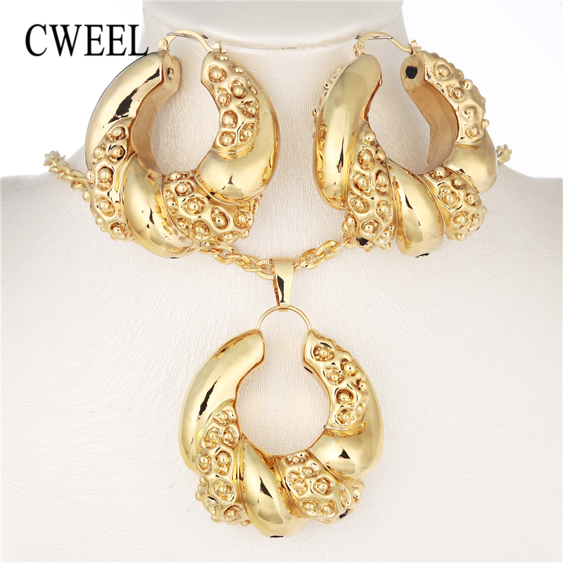CWEEL African Beads Jewelry Set Dubai Wedding Jewelry Sets For Women Vintage Costume Jewelry Gold Color Nigerian Necklace Set