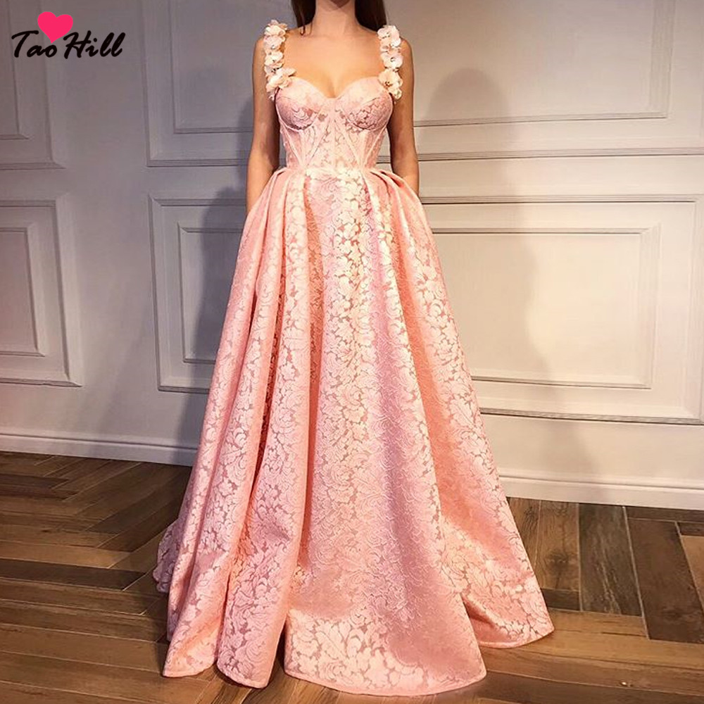 TaoHill Vintage 2018 Flower Straps A line Sweetheart Neck High end Vestidos De Fiesta De Noche with Pocket Pink Evening Dress