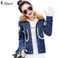 2017 Winter Women Denim Short Jackets Thick Slim Fur Collar Female Jeans Coat Fashion Single Breasted Overcoat Plus Size XXL