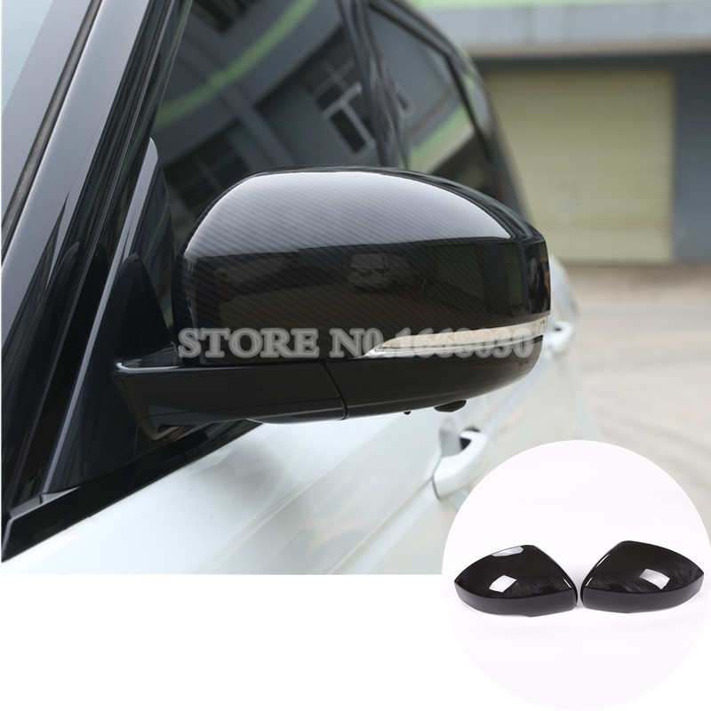 Carbon Fiber Style Rearview Mirror Cover For Land Rover Range Rover Sport 2014-2017 2pcs 4pcs carbon fiber style abs plastic inner door decoration cover trim for landrover range rover sport rr sport 2014 2017 new