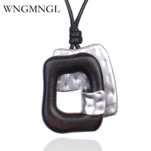 WNGMNGL 2018 New Vintage Geometric Wood Necklace Handmade Jewelry Black Sandalwood Pendant for Men Women Collares Mujer