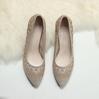 Black Golden Classics Women's Shallow Office Shoes New Arrival Concise Solid Flock Pointed Toe Women Pumps Fashion