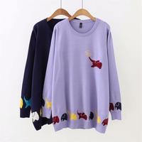 Plus size autumn O Neck women Knitted pullovers 2018 dark blue & violet Coloured small elephant ladies sweater wool female 5XL