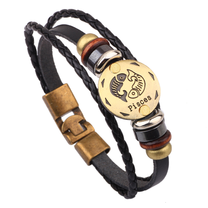 797d91a7a6c31 US $2.97 60% OFF|Vnox 12 Horoscope Leather Bracelet Men Jewelry Vintage  Retro Charm Bracelet Male Jewelry 8.2
