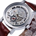 WINNER Men Noble Dress Mechanical Wrist Watch Brown Leather Strap Date Display Sub Dial Transparent Dial