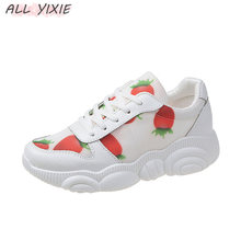 ALL YIXIE 2019 Fashion Spring Summer Wild Breathable Fruit Women Sneakers Korean Sports Leisure Shoes White Vulcanize Shoe