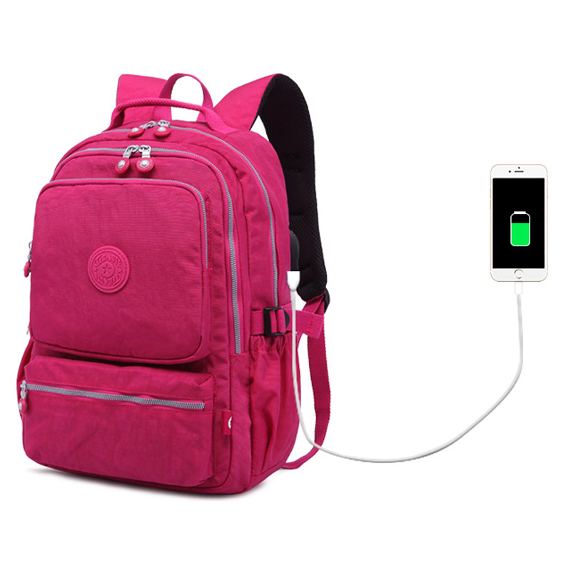 Women Waterproof Nylon USB Charging Backpack Female Mochila Masculina Travel Bag Luxury Classic Backpacks For Teenage Girl image