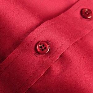 Image 4 - Рубашка мужская с французскими манжетами, роскошная Свадебная сорочка из мерсеризованного хлопка с длинными рукавами, Классическая с запонками