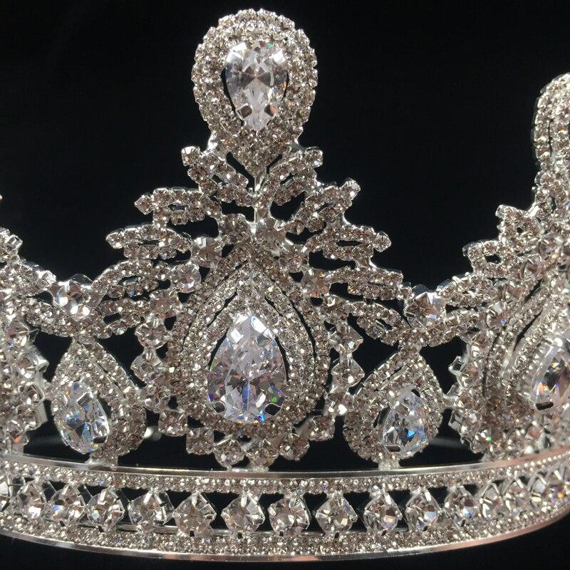 Hadiyana Bruiloft Accessoires Bruids Haar Tiara Waterdruppels Haar Crown Koper Rhinestone Sliver Plating Bruiloft Kronen BC3620-in Haarsieraden van Sieraden & accessoires op  Groep 3