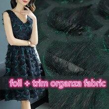 SASKIA 1Meter Tassel Fringe Trim Fabric Organza African Lace Transparent Sewing Cloth Dress Black Green Diy Summer Spring