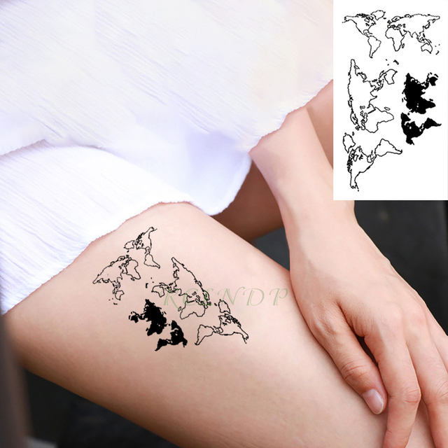 Waterproof Temporary Tattoo Stickers Map of the world fake Tatto ...