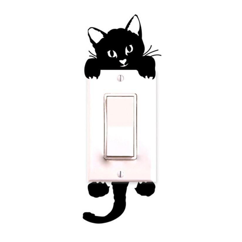 Новый Кот стены наклейки выключатель света декора наклейки Книги по искусству росписи ребенка Детская комната черный Книги по искусству ве...